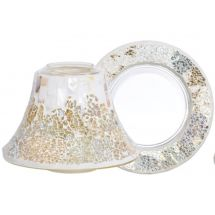 Gold & Pearl Crackle *NEU* Jar Shade & Plate Lg/Md