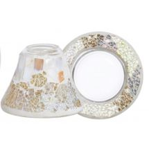 Gold & Pearl Crackle *NEU* Jar Shade & Plate Small